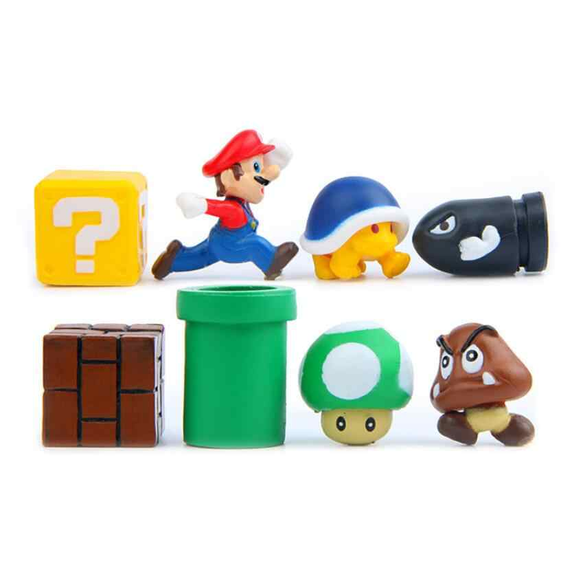 3D Super Mario Bros Action Figurine Mainan Mario Luigi Peach Toad Jamur Yoshi Mini Action Figure Mikro Lanskap Resin Domina
