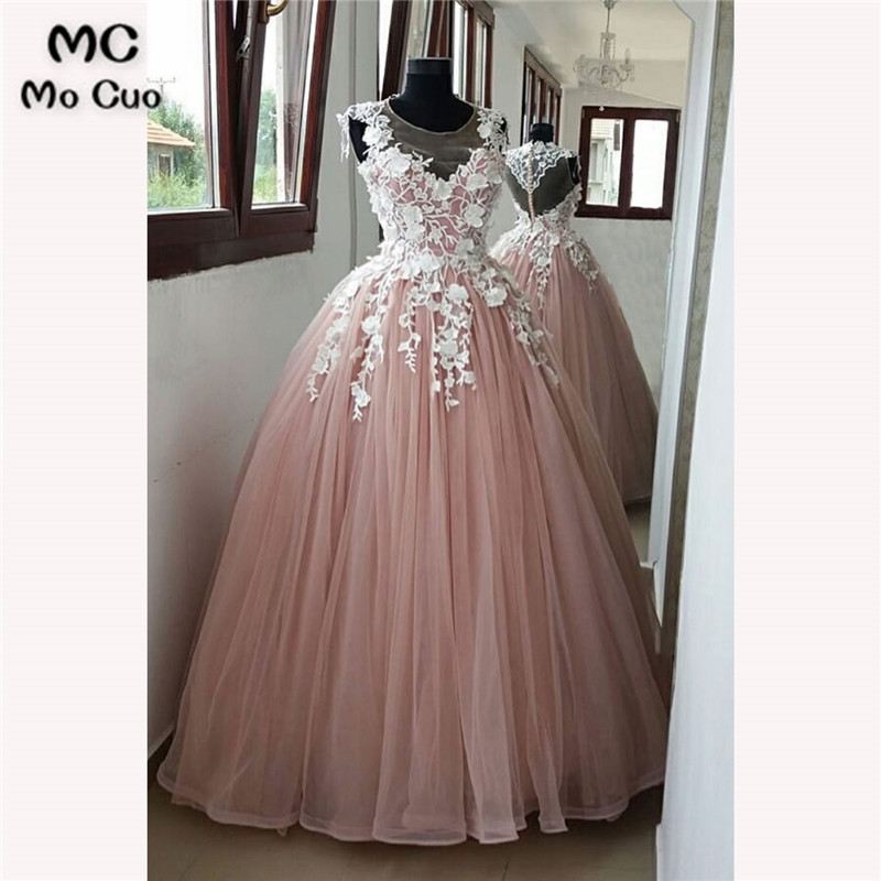 2018 Illusion   Prom     dresses   Long with White Appliques Tulle   dress   for graduation Floor Length Formal Evening   Prom     Dress