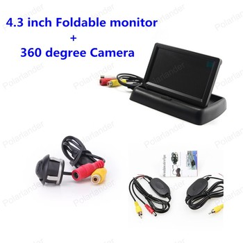 4.3 inch TFT LCD Rear View Foldable Monitor with Night Vision 360 degree Camera + Video Transmitter & Receiver Kit