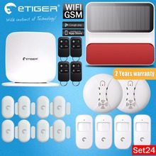 ABS Plastic Material Etiger SecualBox V2 433mhz  WiFi /GSM Wireless Home Alarm System Outdoor Solar Siren Emit Alarming Sounds