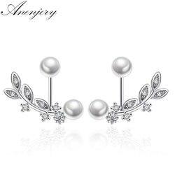 ANENJERY 925 Sterling Silver Zircon Leaves Earrings Pearl Stud Earrings brincos Wedding Jewelry S-E265