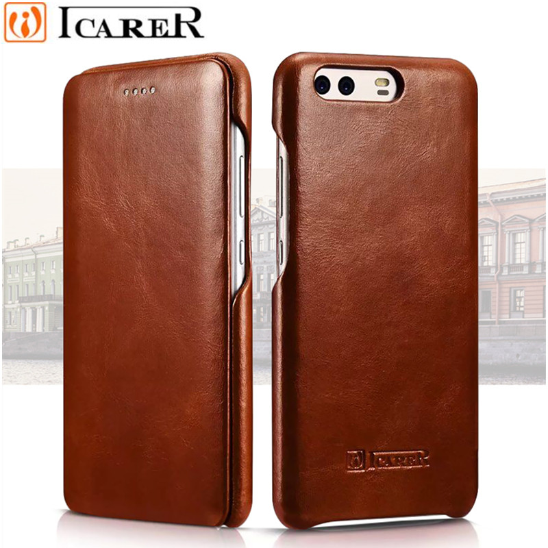 Original iCarer Vintage Genuine Leather Mobile Phone Cases Accessories For Huawei P10 Plus Full Curved Edge Flip Case Cover