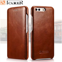 Original ICarer Vintage Genuine Leather Mobile Phone Cases Accessories For Huawei P10 Plus Full Curved Edge