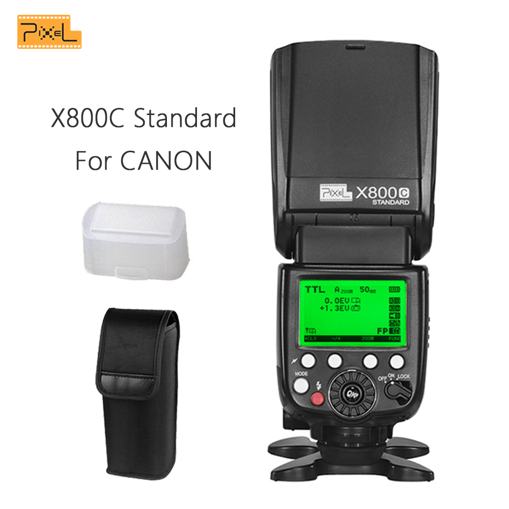 Pixel X800C Standard GN60 flash Wireless Flash Speedlite E TTL HSS FlashLight for Canon 5D II