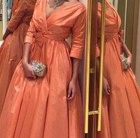 Бесплатная доставка Линия V шеи три четверти рукава Оранжевый тафта Длинные платья для выпускного вечера
