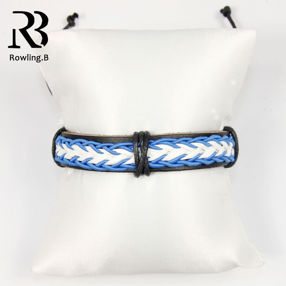 Trendy Leather China Bracelets for Women Men Fashion Jewelry Water  Blue White Color Cord Rope Chain Elastic Bracelets Bangle 203f1f01e5f8