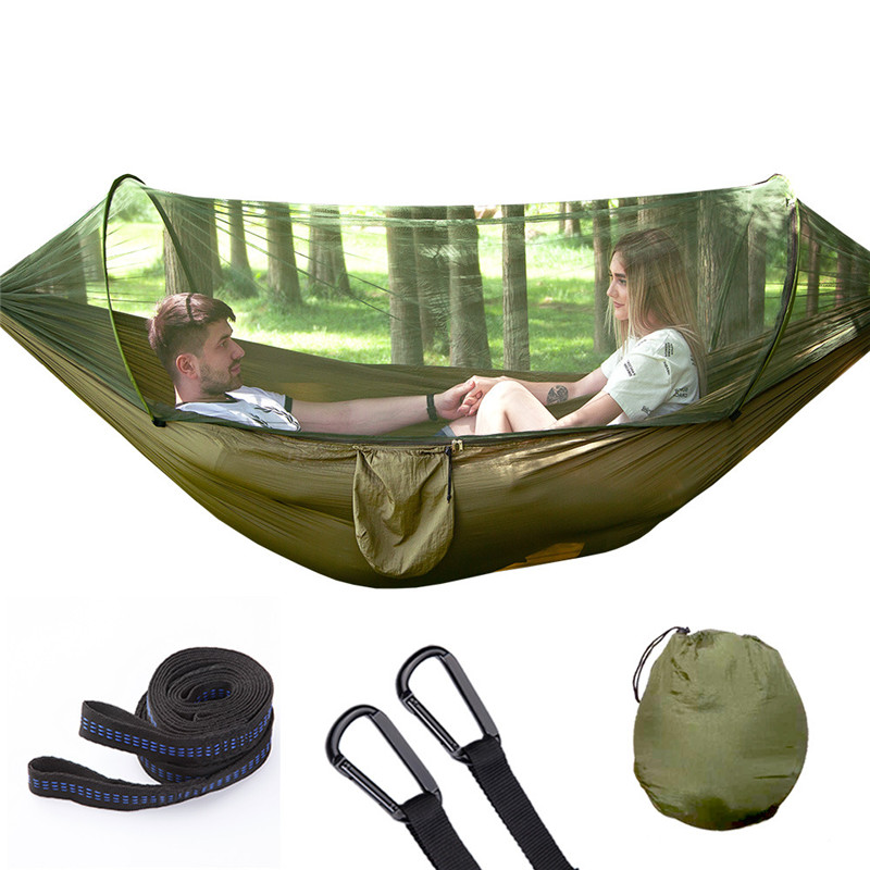 Automatic Unfolding Hammock With Mosquito Net Outdoor Single Double Nylon Hammock Camping Hunting Furniture HammockAutomatic Unfolding Hammock With Mosquito Net Outdoor Single Double Nylon Hammock Camping Hunting Furniture Hammock