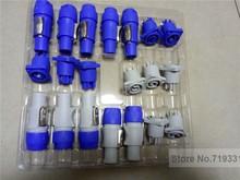 10 סטים = 5 סטים כחול + 5 סטים אפור PowerCON סוג NAC3FCA + NAC3MPA 1 מארז תקע פנל מחבר