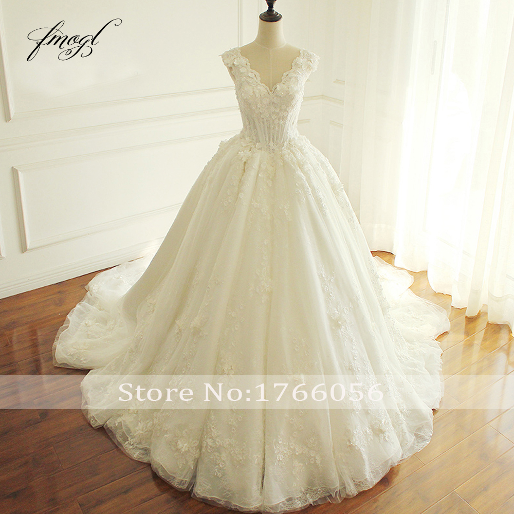 Fmogl Elegant Flowers Lace Princess Wedding Dress 2019 Beading Appliques Vintage Bride dresses Robe De Mariage Plus Size-in Wedding Dresses from Weddings & Events    3