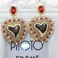 Europe exaggerated peach heart full of earrings Baroque catwalk earrings fashion luxury jewelry for women 537