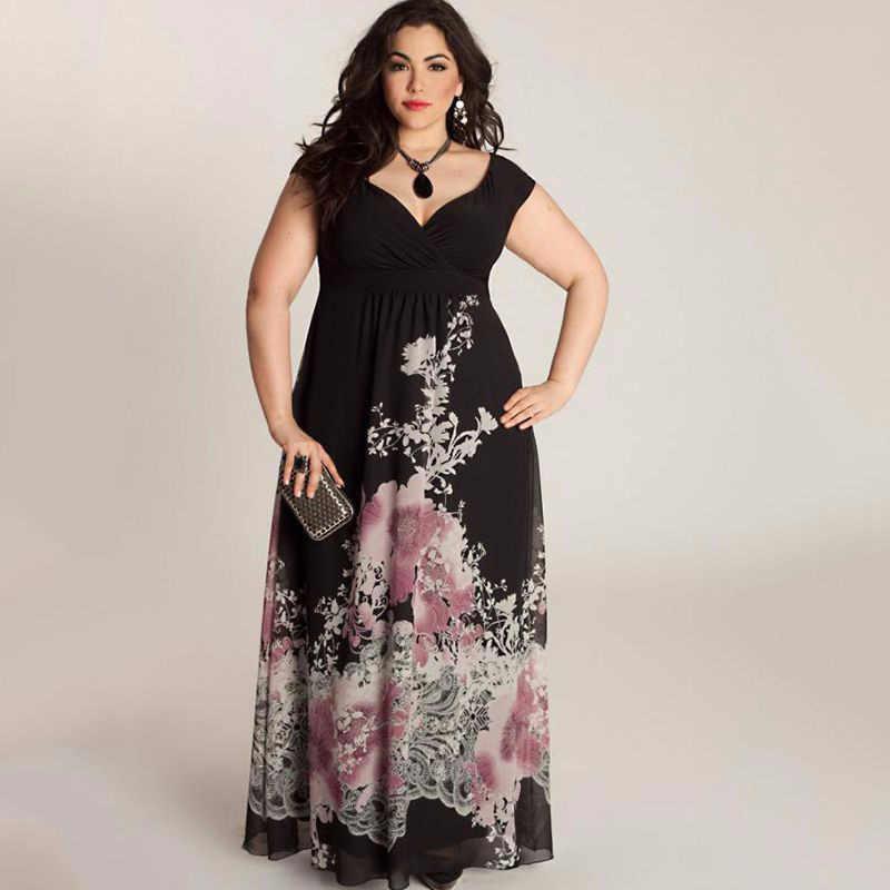 PANJOINER 2019 Plus Size 5XL Women Casual Long Dress Fashion Print Big Size  4XL Party Maxi 42bf44436e80