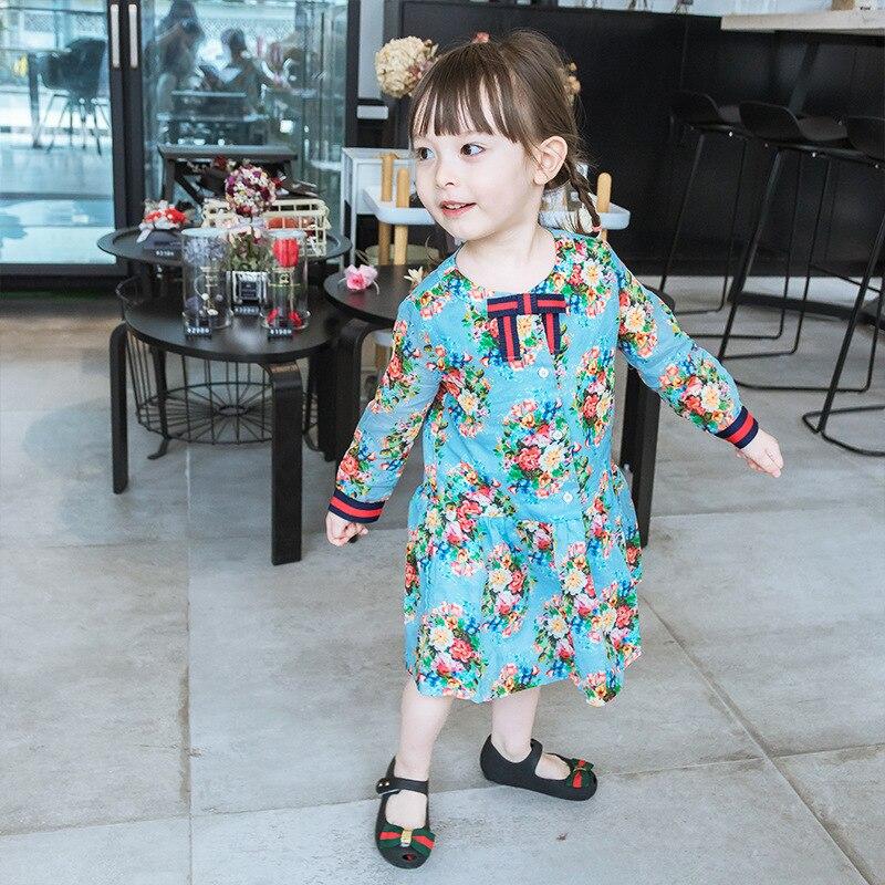 Enfants robe de princesse fille robe d'été à manches longues printemps automne enfant en bas âge bébé filles robes