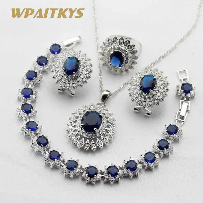 Women Silver Color Jewelry Sets Dark Blue White Cubic Zirconia Necklace Pendant Bracelets Earrings Rings Free Gift Box