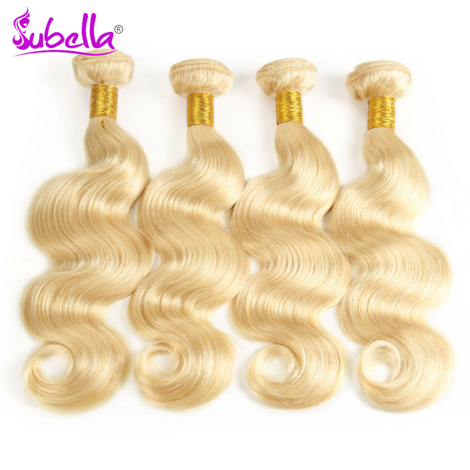 Subella Peruvian Body Wave Non Remy human Hair Weft #613 long blonde Human Hair Weave hair Bundles