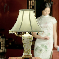 Chinese Elegant Bird Pattern Handdrawing Ceramic Table Lamps Green Fabric Art E27 LED Lamp For Bookstore