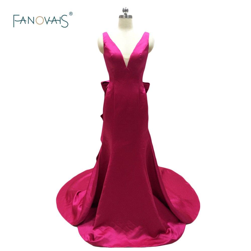 Sexy col en v bretelles conception Simple sirène robes de bal 2019 Fuchsia robe de soirée dos ouvert avec grand arc Vestido de Fiesta JV06