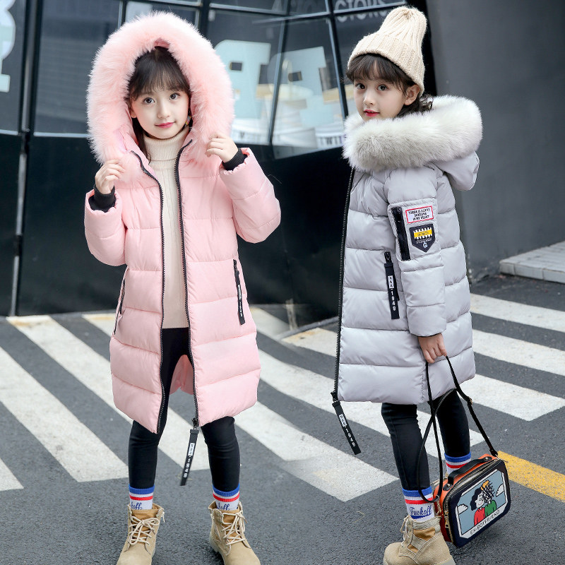 -10 graus Roupas Meninas Quente Para Baixo Casaco para a Menina Roupas 2019 Inverno Engrosse Parka de Pele de Algodão Com Capuz Casacos Crianças casaco