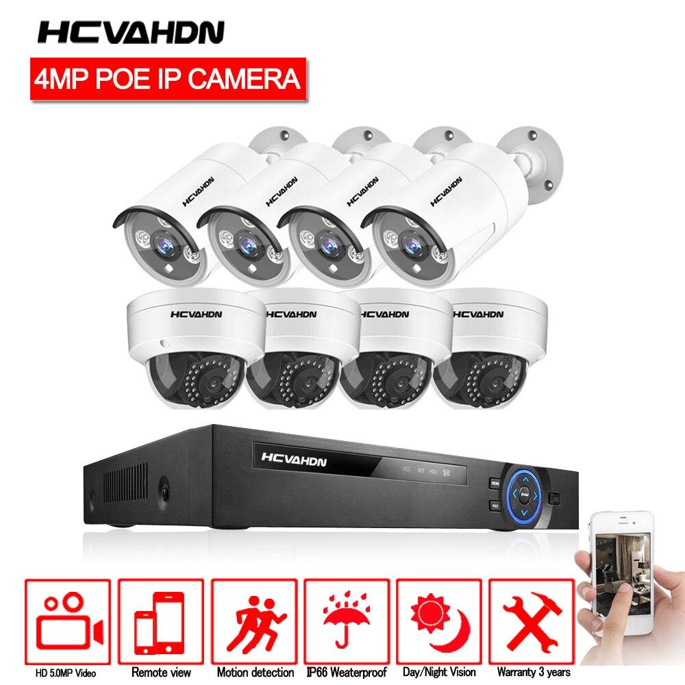 HCVAHDN 8CH 5MP POE NVR Xmeye système de vidéosurveillance 4.0MP intérieur extérieur caméra IP PoE Kits de Surveillance vidéo de Vision nocturne IR