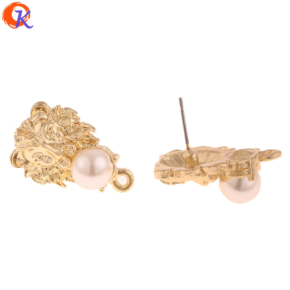 Cordial Design 50Pcs 15*24MM Jewelry Accessories/Earrings Stud/Imitation Pearl/Lion Shape/DIY Making/Hand Made/Earring Findings