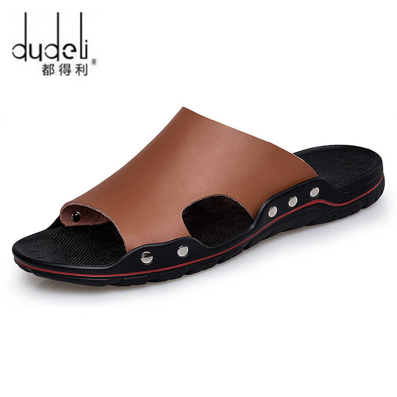 395eab1a317cfc DUDELI Genuine Leather Men Slippers Fashion Rubber Male Sandals Casual Beach  Slippers Summer Male Plus size
