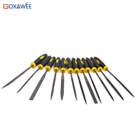 GOXAWEE 12pcs 140mm Wood Carving Tool Mini File Set Microtech Needle Rasp Filling Tool Woodworking Files