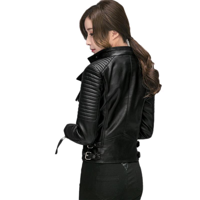 Casual Moto Faux Black Chaqueta Slim Negro Ftlzz Cuero Soft De Otoño Biker Primavera Nueva Mujer Pu Mujeres cHUUq8TPp