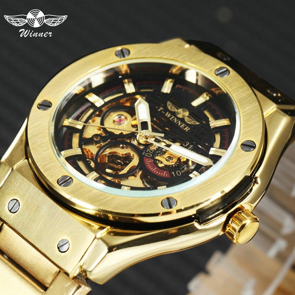 Победитель классический золотой Мужчины Авто механические часы металлический ремешок skleton циферблат лучший бренд Luxry дизайн Forsining мужские ...