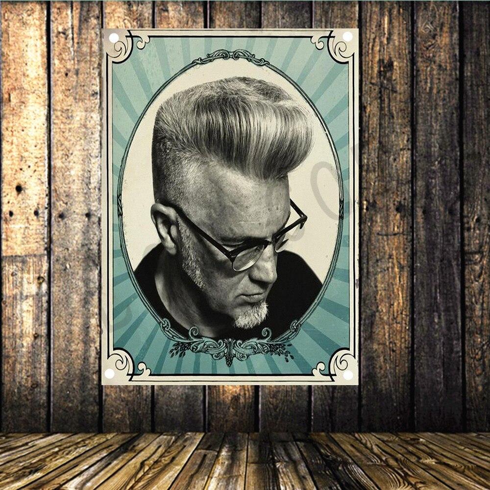 Collectie Hier Shabby Chic Barbershop Tattoo Vlag Banner Vintage Poster Muursticker Tapijt Doek Schilderen Kapsalon Schoonheidssalon Home Decor