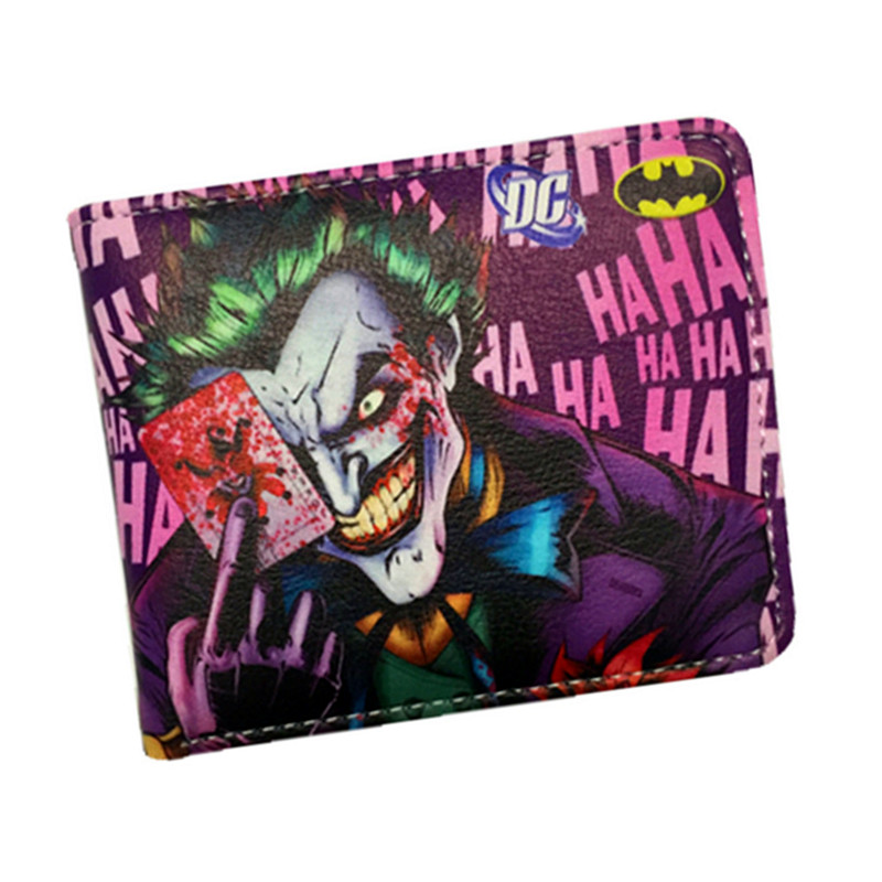 Anime Wallets New Designer The Joker Captain America Wallet Young Boy Girls Superhero Purse Small Money Bag anime wallets new designer jeans wallet batman superman denim wallets young boy girls purse small money bag