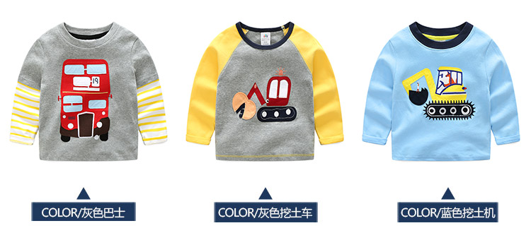 2018 Spring Autumn For 2-9 10 Years Children Cotton Striped Patchwork Cartoon Car Bus Truck Baby Kids Boys Long Sleeve T Shirts (7)