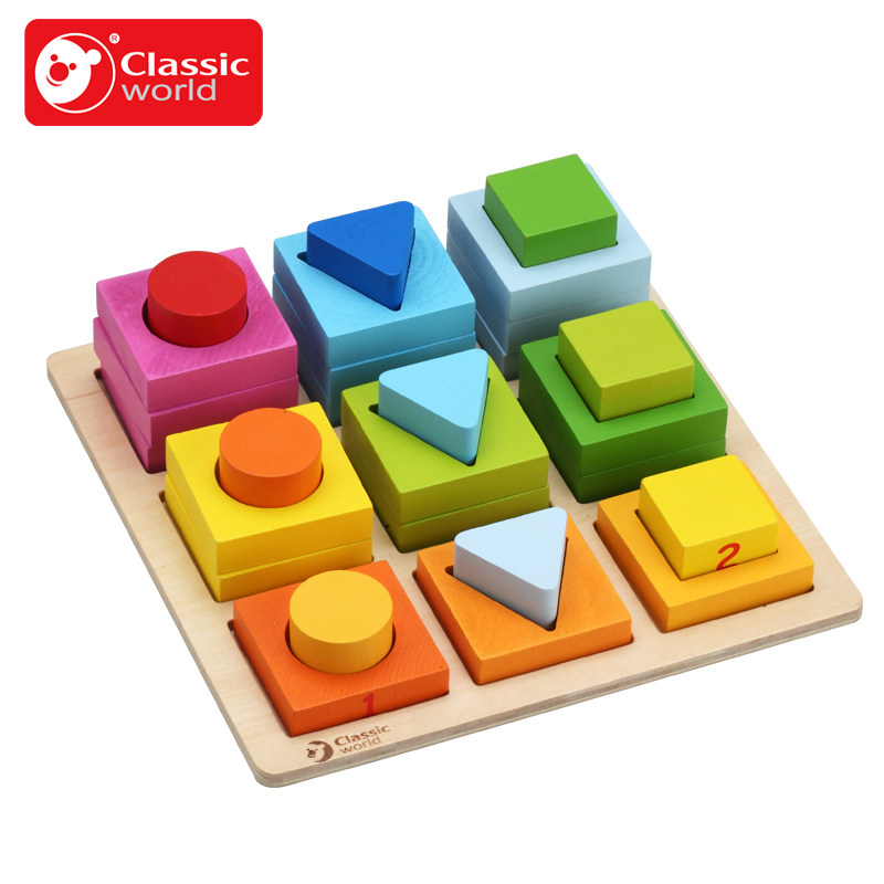 Classic World Wooden Geometric Blocks Educational Rotary Building Blocks Children Learning Match Classification Block Toys classic world транспорт