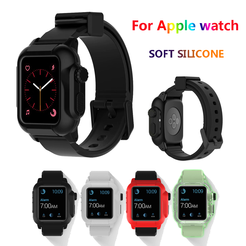 Silicone straps For Apple watch band case Iwatch 3 2 correa aple watch 42 mm sport belt rubber wristbands & protective cover elastic wrist belt silicone protective case for gopro hero3 3 wi fi remote control blue