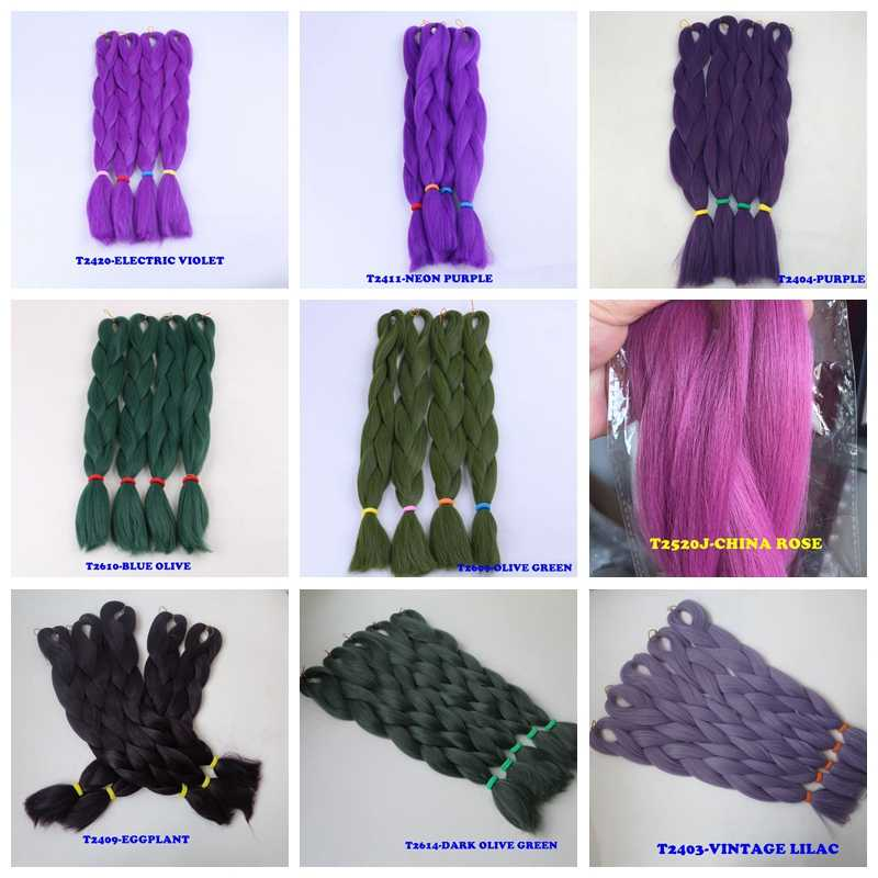 """1 paquete de lujo 80g sólido 24 """"60 cm doblado 100g Ombre verde púrpura lavanda Lila sintético Jumbo trenzas para trenzas"""