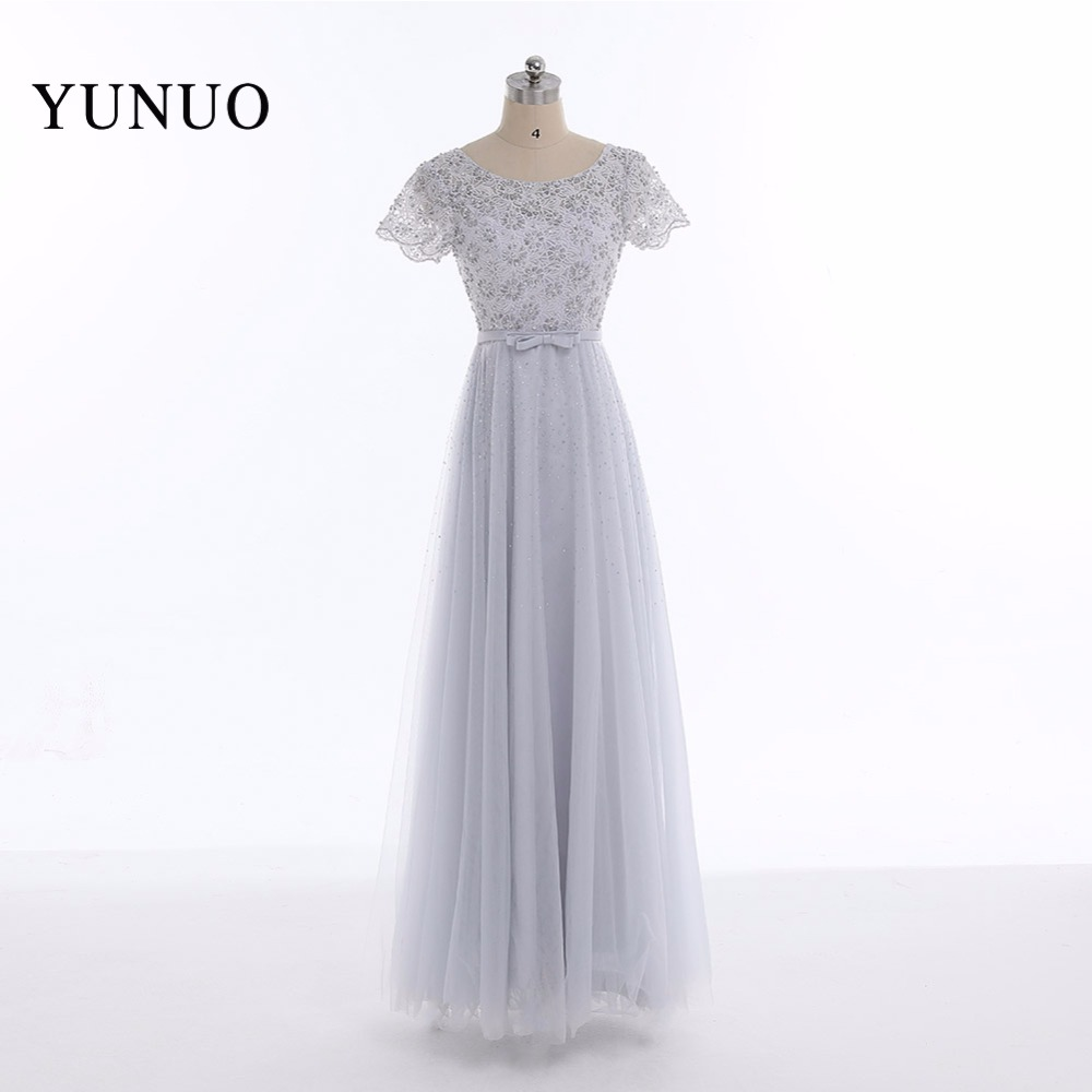 Newest A Line Tulle Lace Scoop Neck Short Sleeves Long font b Prom b font font