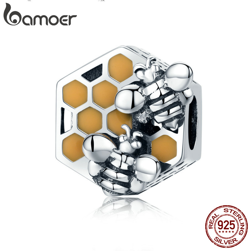 BAMOER New Collection 925 Sterling Silver Honeycomb Honey Bee Square Charm Beads fit Women Bracelet DIY Jewelry Making SCC500 kaletine honey bee 925 sterling silver bracelets colorful heart luxury love honey comb golden bee jewelry for men women bracelet