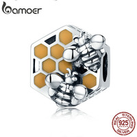 BAMOER New Collection 925 Sterling Silver Honeycomb Honey Bee Square Charm Beads Fit Women Bracelet DIY