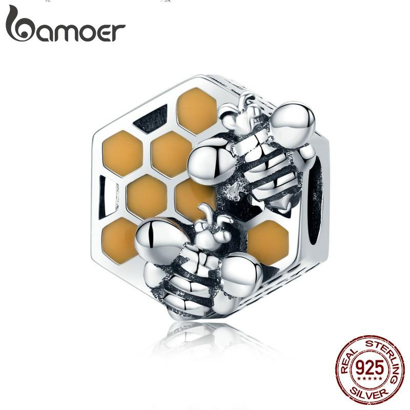 BAMOER Nouvelle Collection 925 Sterling Argent Honeycomb Honey Bee Carré Charme Perles fit Femmes Bracelet BRICOLAGE Fabrication de Bijoux SCC500