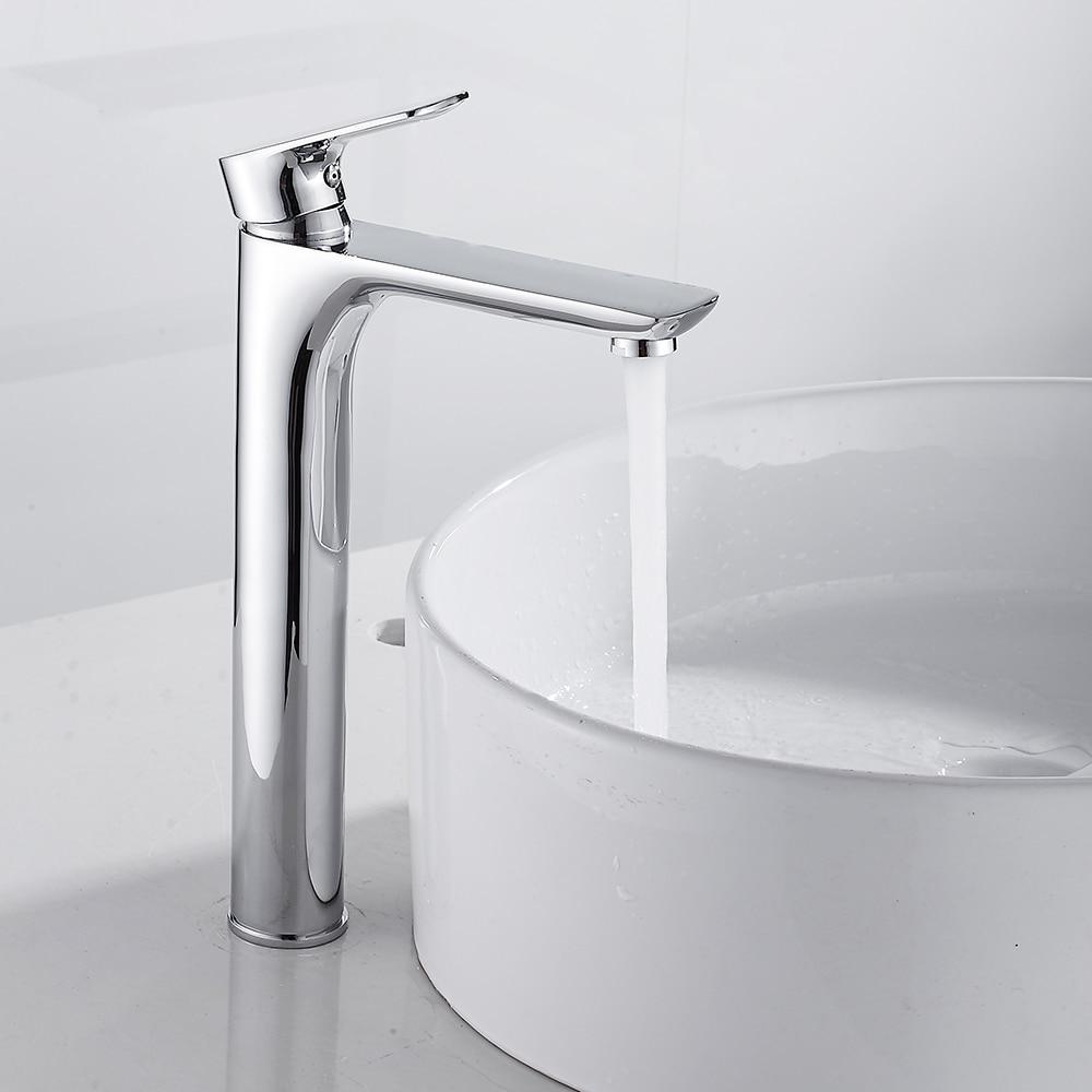 Tall Basin Faucet Modern Counter Top Basin Mixer Taps Bathroom Sink Tall Chrome Faucet Deck Mounted