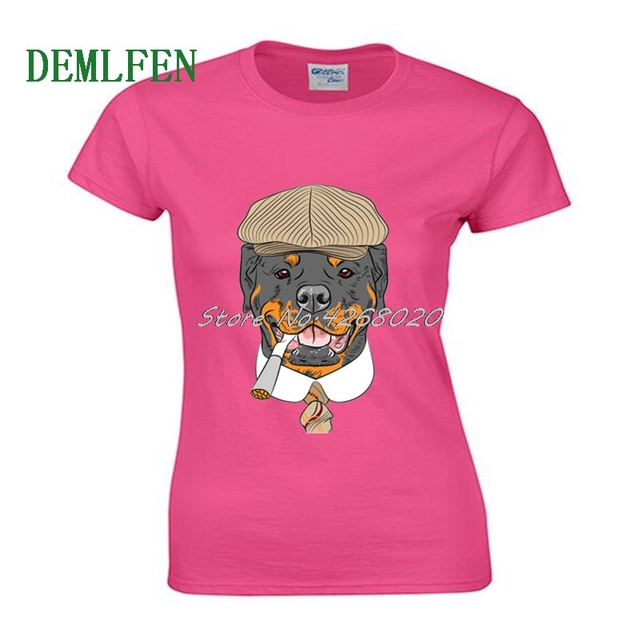 Fashion Rottweiler Dog Head Funny Printed T Shirt Women Short Sleeve