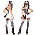 Adult Womens Terrify Fever Creepy Zombie Circus Clown Halloween Cosplay Costume Carnival Costume Fancy Dress New
