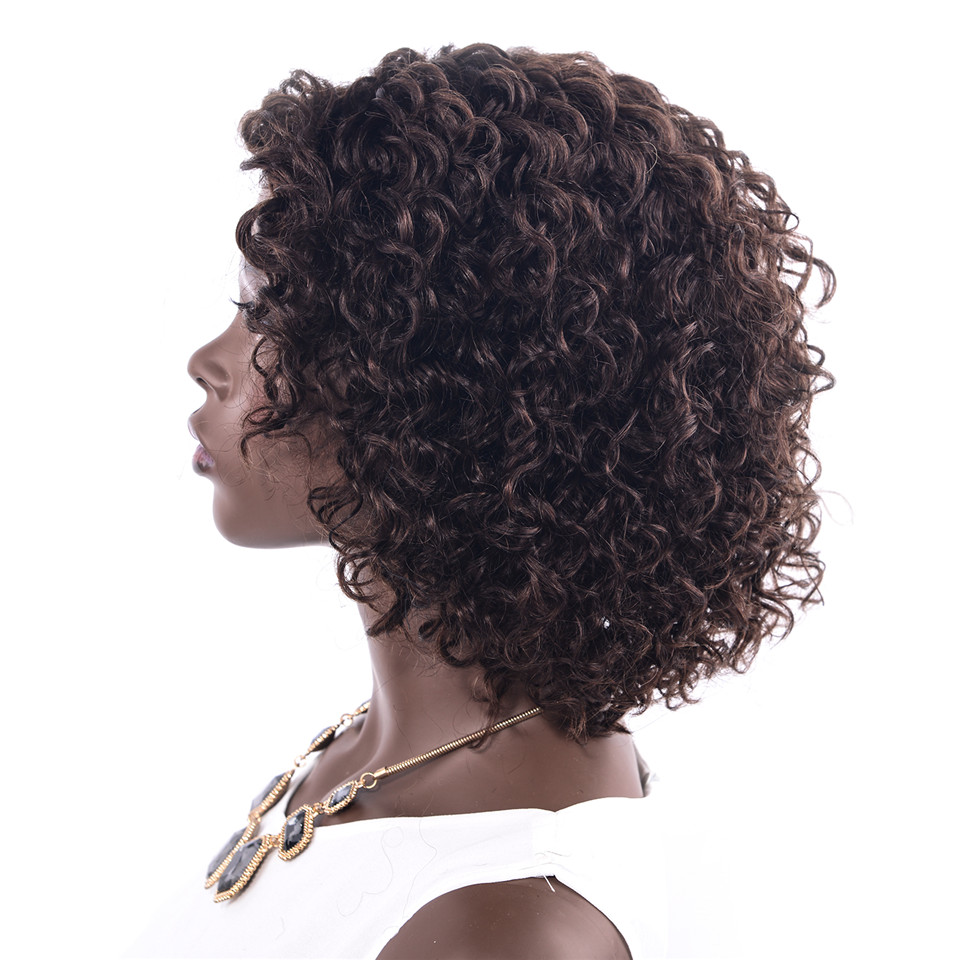 CHOCOLATE Remy Human Hair Wigs Short Curly Bob Hair Wigs Brazilian Human Hair Part Hand Made Wigs For Black Women
