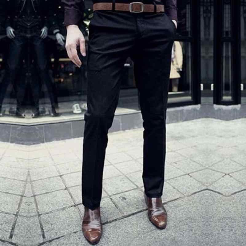 58b50b44f49 Fashion Brand Men Work Wear Office Slim Fit Flat Suit Pants Wedding Party  Business Formal Trousers
