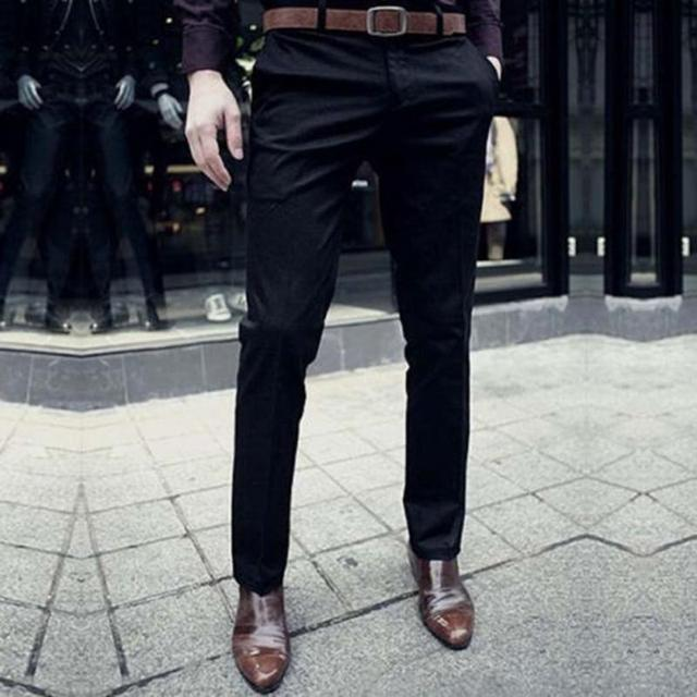 5047a3436e7 Fashion Brand Men Work Wear Office Slim Fit Flat Suit Pants Wedding Party  Business Formal Trousers