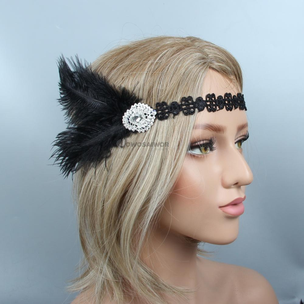 Fashion Black Feather Gatsby Flapper Headband Great Headpiece Costume headpiece Handmade