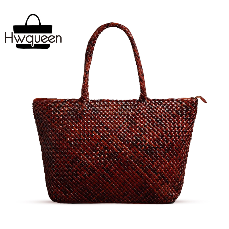 100% Handmade Knitted Designer Genuine Leather Women Large Brown Totes Bag Top Handle Handbag Female Ladies Woven Portable Bag country style genuine leather women small knitting designer totes bag top handle basket handbag ladies woven colorful purse bag