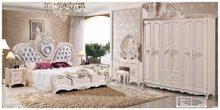 Moderno europeu de madeira maciça cama moda esculpida couro francês quarto conjunto mobiliário tamanho king hc0062