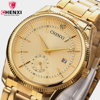 CHENXI Top Brand Watch Gold Mens Watch 2017 Luxury Full Golden Wristwatches Quartz Waterproof Male Clock