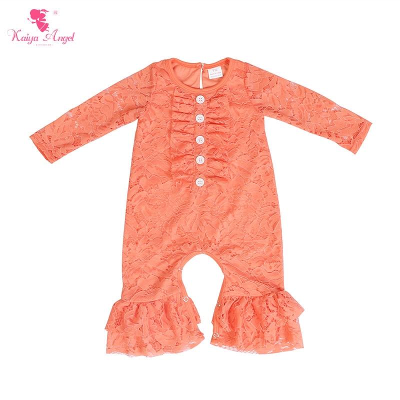 Kaiya Angel Newborn Girls Long Sleeve Peach Lace Romper Fashion Kids Autumn Style Ruched Jumpsuit Factory