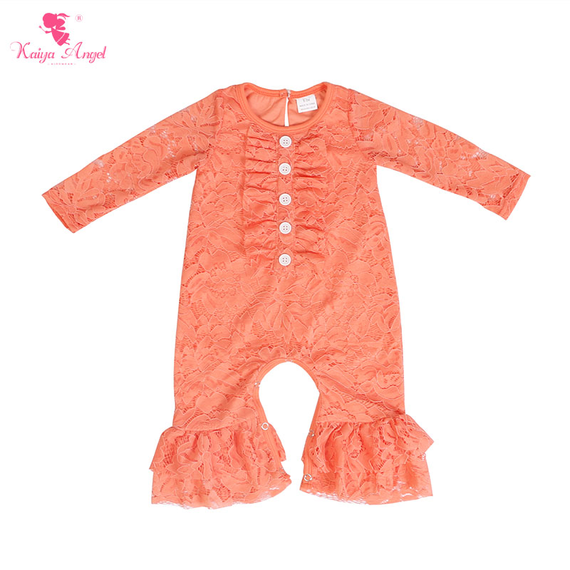 Kaiya Angel Newborn Girls Long Sleeve Peach Lace Romper Fashion  Kids Autumn Style Ruched Jumpsuit Factory Wholesale One PieceRompers