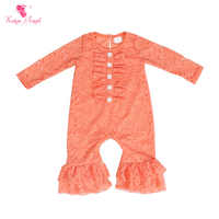 Kaiya Angel Newborn Girls Long Sleeve Peach Lace Romper Fashion Kids Autumn Style Ruched Jumpsuit Factory Wholesale One Piece